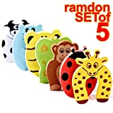 kids safety - The Wolf Moon® Children Safety No Finger Pinch Foam Door Stopper. Colorful Cartoon Animal Cushion - Ramdom Bundled Baby Child Kid Cushiony Finger Hand Safety, Curve Shaped Door Stop Guard 5 PCS Set