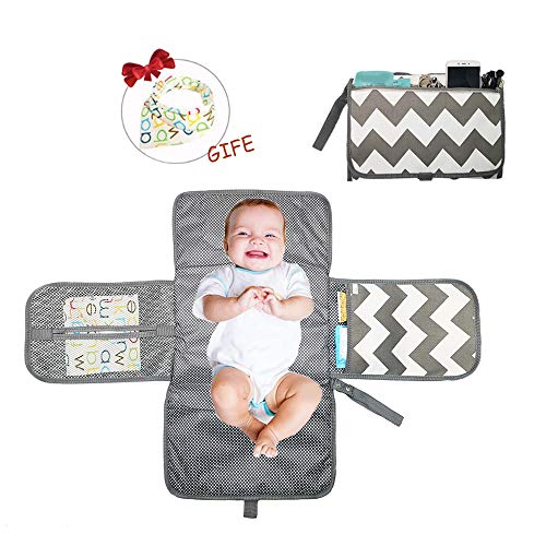 Portable Baby Diaper Changing Pad with Built-in Head Cushion Travel Changing Mat (Basic Pattern)