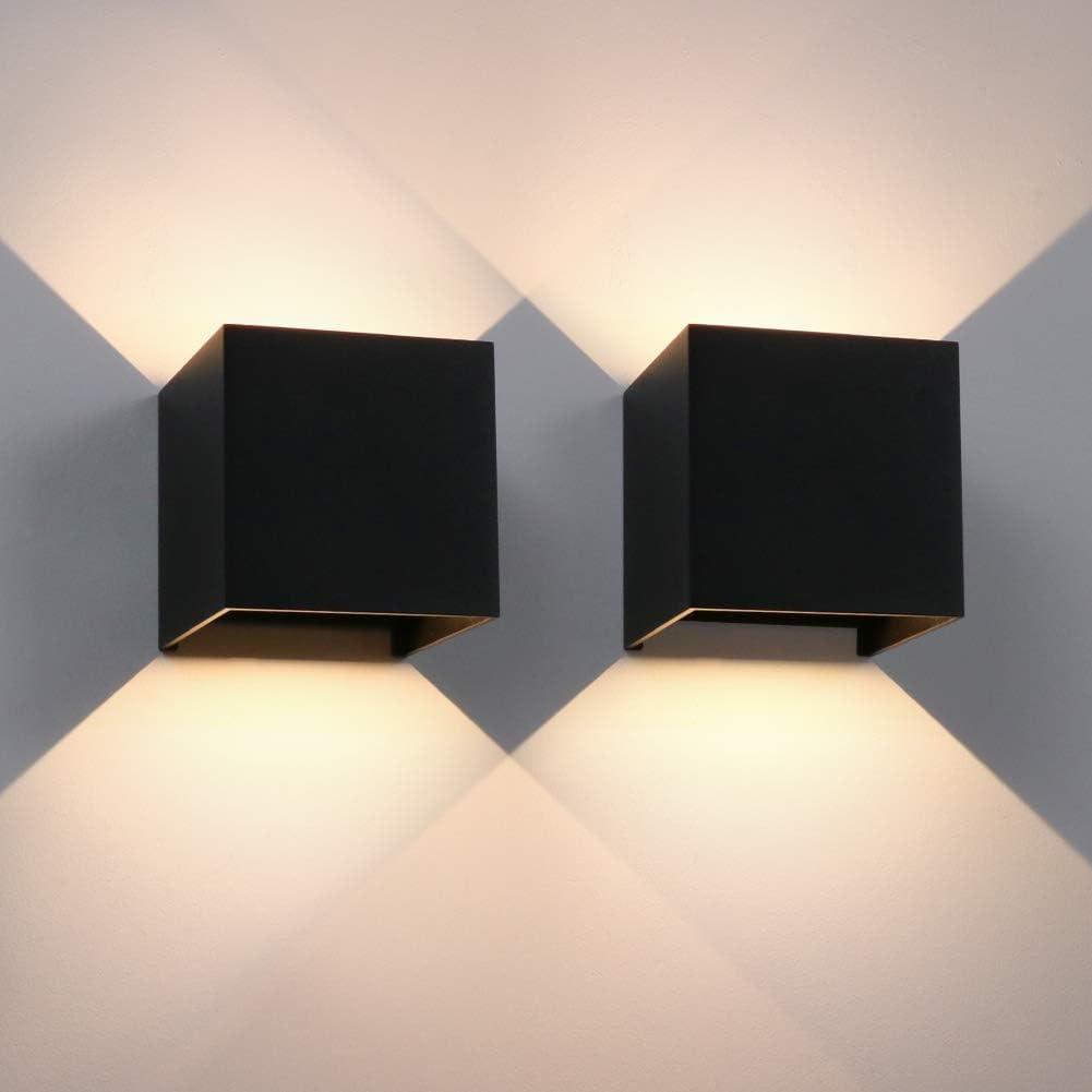 Aipsun LED Blanco Cálido Apliques de Pared con ajustable el ángulo del haz, Lluminación de Exterior y Interio para Parque, afuera de la puerta, sala, dormitorio, pasillo(Negro 12W)