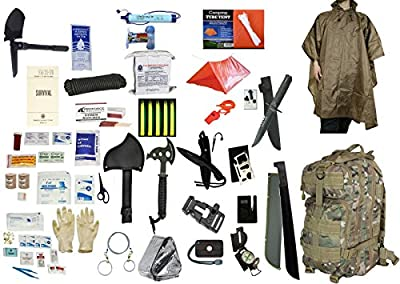 4 Person Supply 5 Day Emergency Bug Out S.O.S. Food Rations, Drinking Water, LifeStraw Personal Filter, First Aid Kit, Tent, Blanket, TACCAM Backpack, Tan Poncho + Essential 21 Piece Survival Gear Set