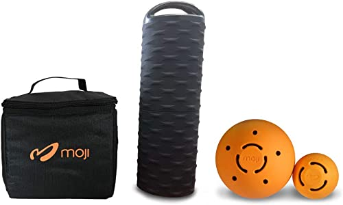 Moji Heated Foam Roller, 2 Massage Ball, and Thermal Bag Bundle Loosens Tight Muscles Perfect for Yoga and Runners Bag Keeps Roller Hot for 90 Minutes Microwavable
