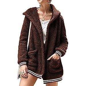 Femme Manteau á Capuche Énorme Veste en Peluche Manches Longues Veste Outwear Automne Hiver Cardigan Manteaux Blousons