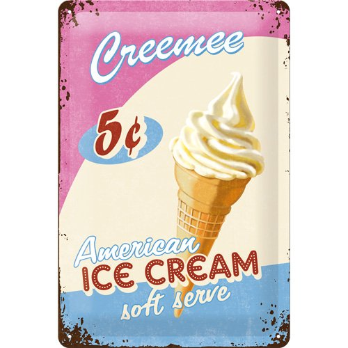 Creemee Ice Cream large embossed steel sign - steel wall art