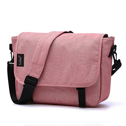 Loiee 14 inches Classic Canvas Mesenger Bag,Water Resistant Vintage School Bag,Pink