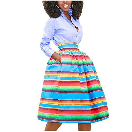 Aifer Women's Casual African Print High Waist Pleated A-Line Midi Skirt With Pockets
