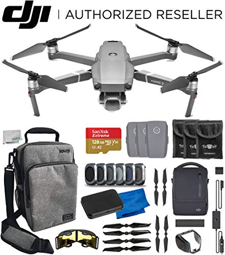 (DJI Mavic 2 Pro Drone Quadcopter with Fly More Kit Bundle -Includes: Bower Sidekick Bag for DJI Mavic Drone, 128GB MicroSD Memory Card, 4X Carbon Fiber Propellers, and More)