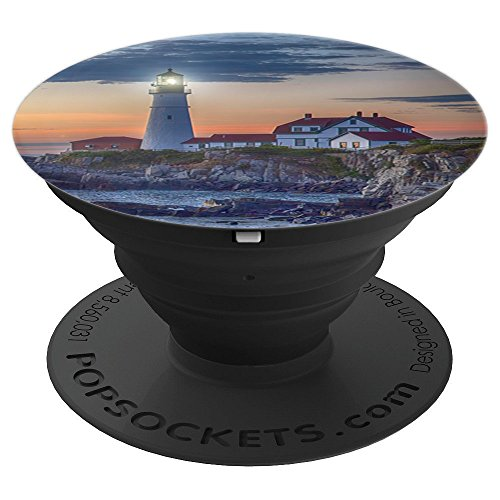 Sunset Sky Lighthouse Scene 4 - Coast Nautical Landscape - PopSockets Grip and Stand for Phones and Tablets