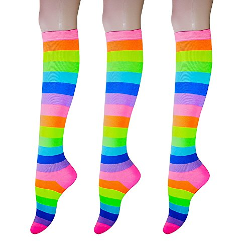 Cotton Striped Sport Socks - KONY Women's 3 Pairs Cotton Colorful Neon Striped Rainbow Knee High Socks Comfortable Stay Up Best Gift Size 6-10 (Classic Rainbow-2)