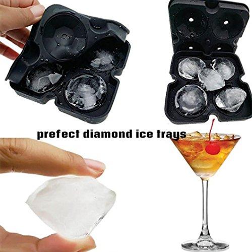(Vanvler 4 Cavity Ice Cube Tray 3D Diamond Shape Silicone Ice Mold (Black))