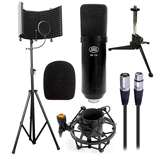 Recording Studio Stands - AxcessAbles MX-100 Studio Microphone with SF-101 Recording Studio Isolation Shield Kit