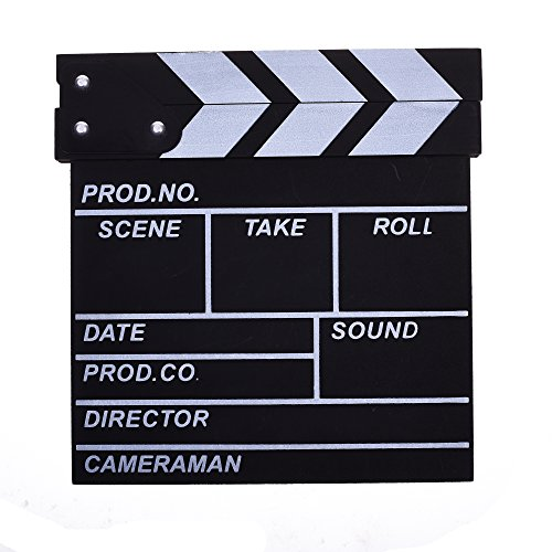 BCP Black & White Color Wooden Director's Film Movie Slate Board Clapper (Wooden Director)