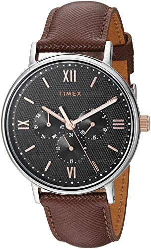 Timex Men's TW2T35000 Southview 41mm Multifunction Brown/Black/Rose Gold Leather Strap Watch (Rose Gold Strap Watch)