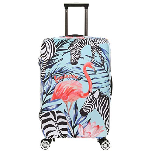 Dustproof Stretchy Flamingos Luggage Cover Protector Spandex Suitcase Cover Travel Baggage Covers Size XL with Luggage Tags