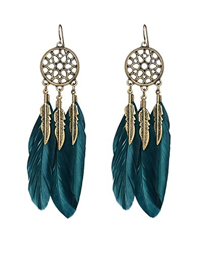 Young & Forever Valentine Gift Special Teal Vintage Feather Boho Feather Dreamcatcher Earrings For Women By CrazeeMania (E60209)