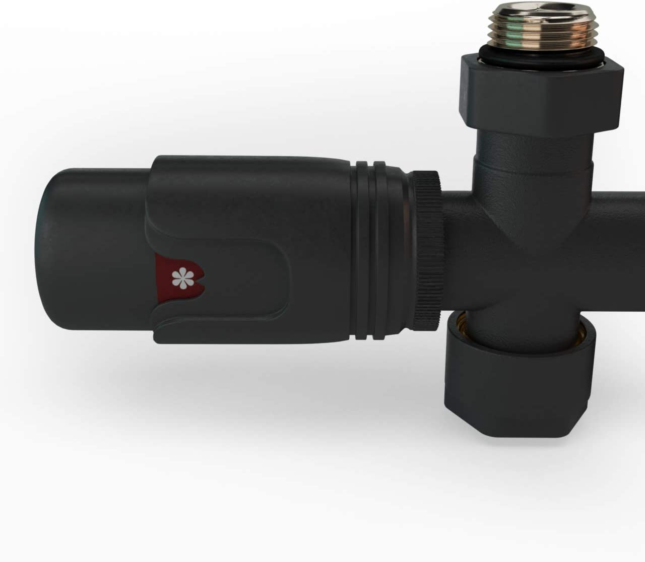 Mittelanschluss-Set Multiblock Hahnblock Durchgangsform inkl Thermostatregler f/ür Badheizk/örper Anthrazit