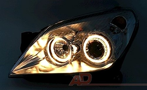 AD Tuning GmbH /& Co KG Lot de phares Angel Eyes Verre Transparent Clair