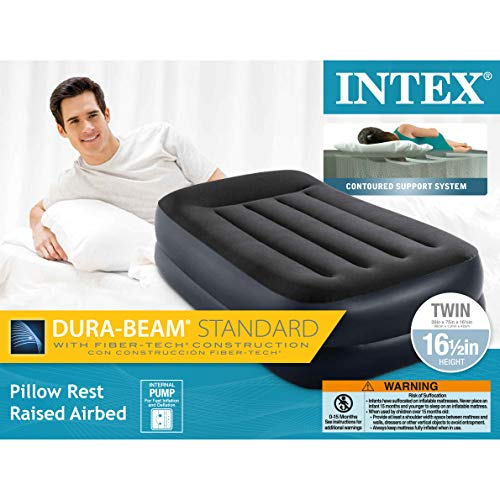 Intex Pillow Rest Raised Airbed w/Built-in Pillow & Internal Electric Pump, Bed Height 16.5, Twin, Multi