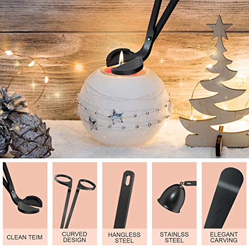 HiFan Candle Accessory Set, Candle Wick Trimmer, Candle Snuffer, Candle Wick Dipper,3 in 1 Candle Snuffer Set with Gift Package for Candle & Aromatherapy Lovers (Black)