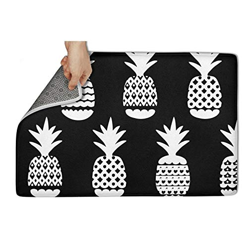 - Omskexx Funny Personalized Door Mat 40x60 cm Bathroom Black and White Geometric Pineapple Fruit Carpet Entrance Rug Shoe Floormat Non Slip Super Absorbtion