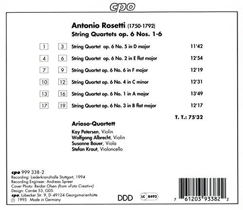 Rosetti: String Quartets, Op. 6, Nos. 1-6