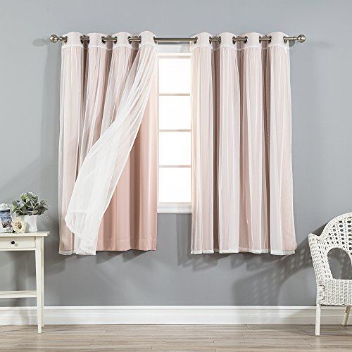 Best Home Fashion Mix & Match Tulle Sheer Lace and Blackout Curtain Set – Stainless Steel Nickel Grommet Top – Dusty Pink – 52