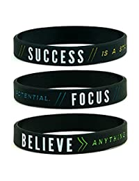 Comfybuy CF 3 Pieces Silicone Success Focus Believe Motivational Bracelets Black Rubber Sentimental Inspirational Wristband for Teens Adult for Outdoor Vacation Sports Gift