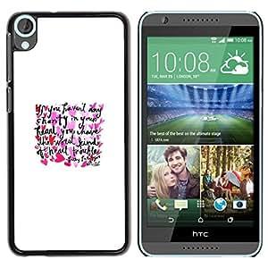 Be Good Phone Accessory // Dura Cáscara cubierta Protectora Caso Carcasa Funda de Protección para HTC Desire 820 // Love Heart Text Minimalist White Poster