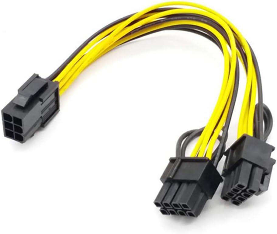 Binchil 5PCS PCI-E 6-Pin to Dual 6+2-Pin Power Splitter Cable Image Card PCIE PCI Express 6Pin to Dual 8Pin Power Cable