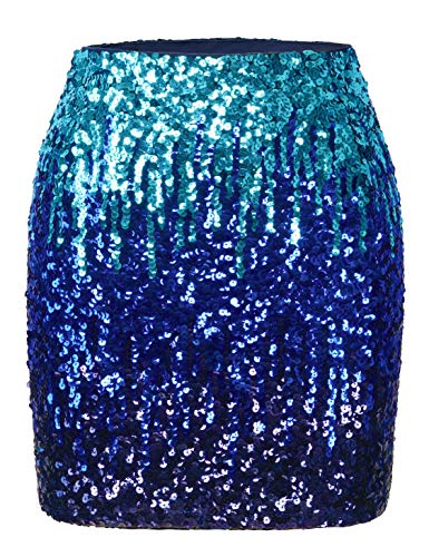 MANER Women's Sequin Skirt Sparkle Stretchy Bodycon Mini Skirts Night Out Party (L / US12-14, Sky Blue/Royal Blue/Navy Blue) ()