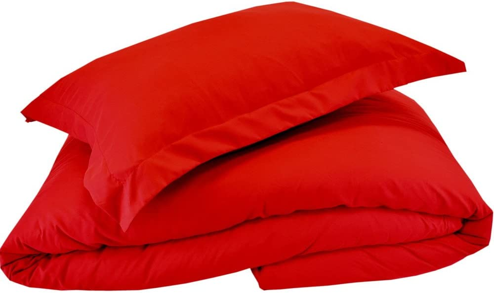Mezzati Luxury Duvet Cover 3 Piece Set – Soft and Comfortable 1800 Prestige Collection – Brushed Microfiber Bedding (Red, King Size)