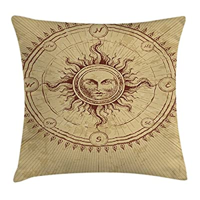 Ancient Decor Throw Pillow Cushion Cover by Ambesonne, Roman Sculpture like Face in Circle like Radiating Sun Antique Image Artwork, Decorative Square Accent Pillow Case, Light Brown