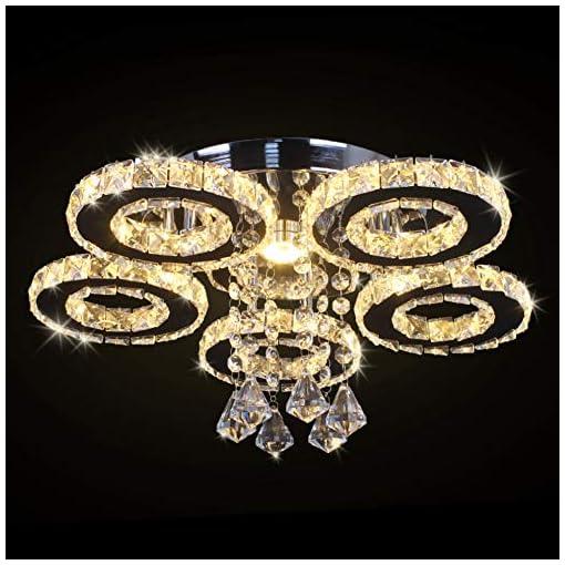 Interior Lighting TongLan Modern Crystal Ceiling Light Fixture Flush Mount Pendant Chandelier Lighting 5 Rings Round LED Ceiling Lamp for… modern ceiling light fixtures
