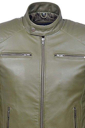 Veste de cuir de vache de moto de style de motocycliste rétro de Fielder pour hommes