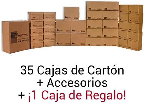 1 Pack cajas de mudanza BÁSICA. 36 Cajas de diferentes tamaños + accesorios. Alta resistencia.: Amazon.es: Oficina y papelería