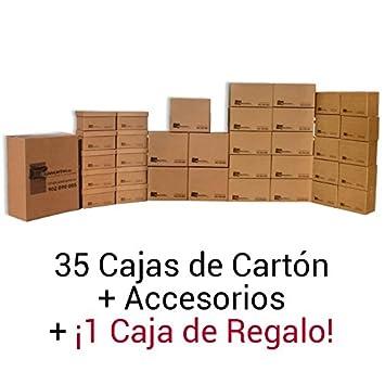 Cajadecarton - Pack de Cajas para Mudanza BASICA, 35 Cajas surtidas +1 Caja de Regalo + Material de Embalaje Diverso: Amazon.es: Oficina y papelería