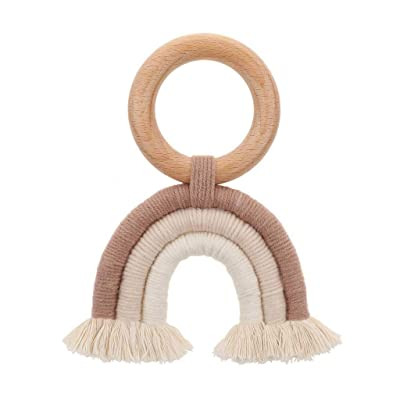 Simdoc Baby Wooden Teething Ring Rainbow Tassel Baby Teether Baby Teething Toys for Baby Shower Gift : Baby