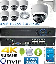 USG Business Grade H.265 4MP 6 Camera HD Security System : Ultra 4K Security NVR + 6x 4MP 2592x1520 2.8-12mm PoE IP Dome Cameras with Bracket & Deep Base + 1x 4TB HDD : Apple Android Phone App