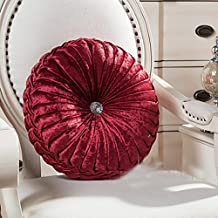TMJJ Round Solid Color Velvet Cushion Couch Pumpkin Throw Pillow Home Decorative Floor Pillows,13.39 x 13.39,Wine Red