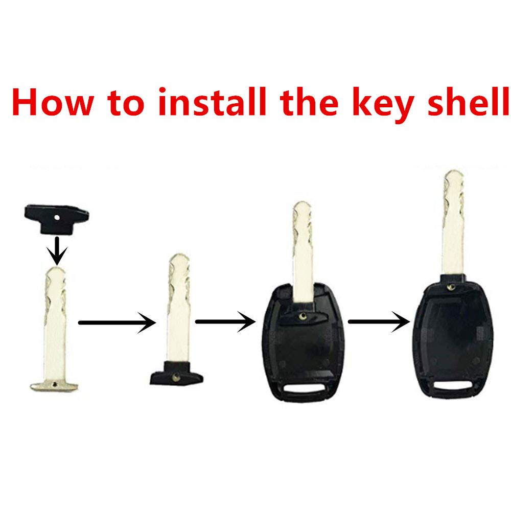 Replacement Key Fob Shell Case Fit for Honda Accord Civic Ex Pilot Cr-v Ridgeline Keyless Entry Remote Key Housing