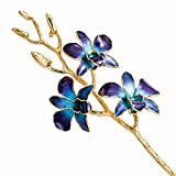 Best Birthday Gift Lacquer Dipped Gold Trimmed Purple/Blue Orchid Stem