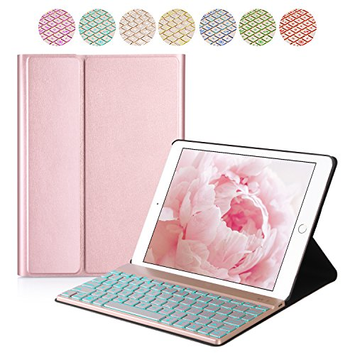 iPad Pro 10.5 Keyboard Case – Bluetooth Backlit Detachable Quiet Keyboard – Slim Leather Folio Cover – 7 Color Backlight – Auto Sleep Wake – Apple Tablet