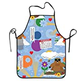 Miaowow Groundhog Day Chef Kitchen Cooking and Baking Bib Apron Adjustable for BBQ Gardening