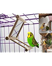 BirdSwing, Parrot Cage Toys,swing hanging play with Mirror for Macaw African Greys Parakeet Cockatoo Cockatiel Conure Lovebirds Canaries By Old Tjikko (4 x4 x4 inch) (3.7 x3.5x3.5 inch)