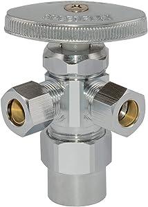 Eastman 04349LF Multi-Turn Dual Outlet Shut-Off Valve, 1/2 inch CPVC x 3/8 inch Comp, Chrome