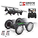 WIFI FPV Version RC Quadcopter Car Drone, DIY 2 in 1 Remote Control Off-road Drone with HD Live Camera APP Control Flying Car with 2 Rechargeable Batteries HD Camera for Beginners Kids Training Quadcopter with Headless