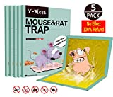 Y-Meet Mouse Glue Traps,5-Pack Extra Large Mouse Glue Boards,Scent Free Non-Poisonous Super Sticky Glue Traps for Mice and Household Pests,Perfect Use for Indoor and Outdoor(Green)