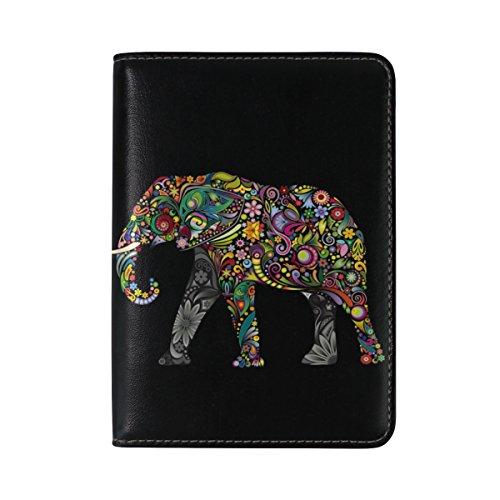 Elephant Leather (ALAZA Black Indian Elephant Floral Leather Passport Holder Cover Case Travel One Pocket)