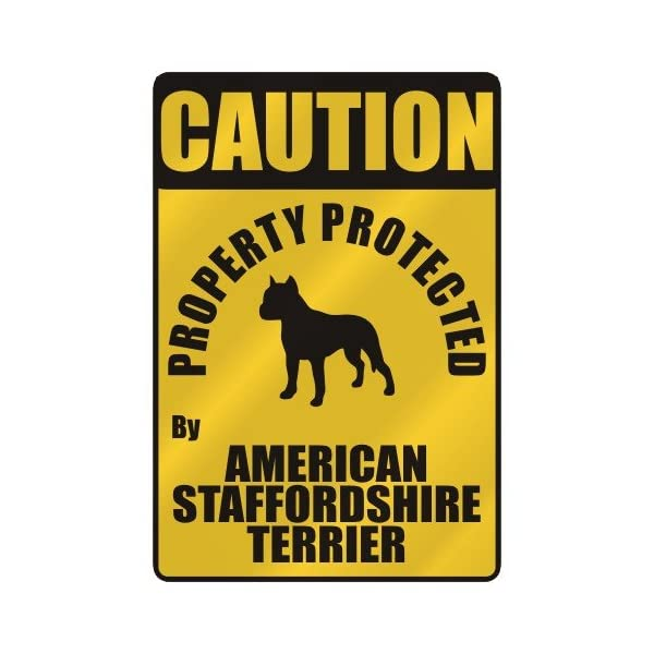 "CAUTION "" PROPERTY PROTECTED BY AMERICAN STAFFORDSHIRE TERRIER "" PARKING SIGN DOG 1"