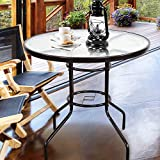 Cheap Homevibes 32″ Outdoor Patio Dining Table Tempered Glass Top Bistro Table Top Umbrella Stand Round Deck Furniture Garden Table Metal Frame, Dark Chocolate