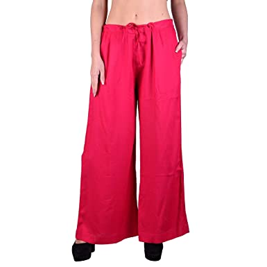 52e3c26733a23 Tuk Tuks The Store Designer Pink Casual Wear Rayon Plazzo Pant with Side  PocketFor Women s (